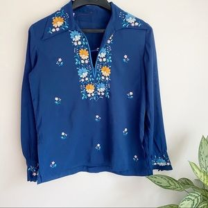 Vintage Embroidered Disco Collar Lightweight Top